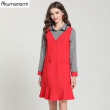 4c216beb7a07 AKUMANOMI Autumn Patchwork Women s Clothing Peter Pan Collar Full Sleeve  Dresses