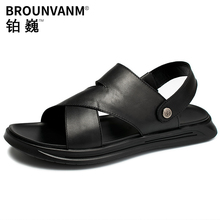 Middleag Sandals Men Real Leather Soft Summer Outside Slides Shoes Business Man Fathers Gift