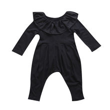 Newborn Infant Baby Girls Clothes Ruffle Collar Long Sleeve Romper Black Cute Clothing Girl Outfits
