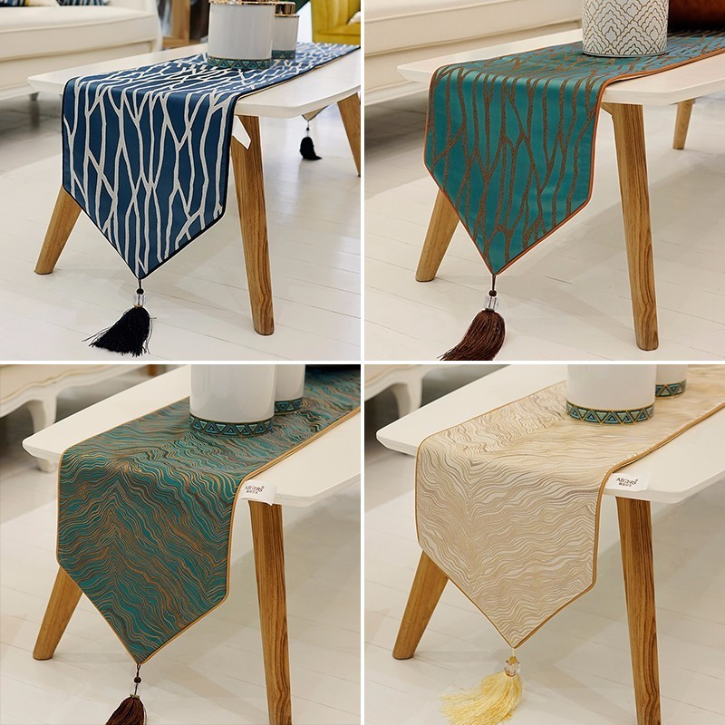 Avigers Modern Luxury Striped Table Runners High Precision Jacquard Table Runner For Home, Art Decor Wedding Beige Blue Green