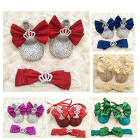 customized Baby girl bow shoes headband gift set satin bling crystal crown charm princess baptism shoes ruby ribbon BB24