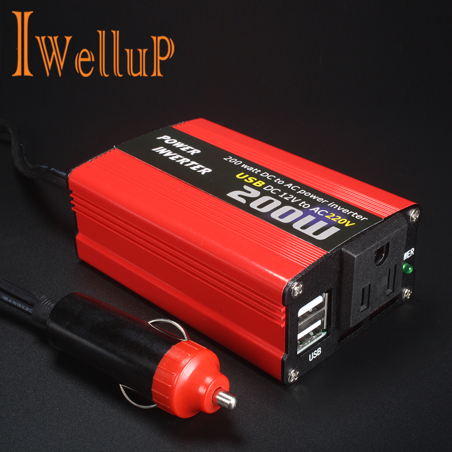 Car <font><b>200W</b></font> Power Inverter 12v <font><b>220v</b></font> Converter DC 12V <font><b>to</b></font> AC <font><b>220V</b></font> <font><b>110V</b></font> Portable Auto Modified Sine Wave USB Charger 12 220 180W 150W image