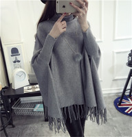 Women Pullovers Sweaters Loose Soft Shawl Poncho Women turtleneck sweater Bat Long Sleeve Pullover Sweater