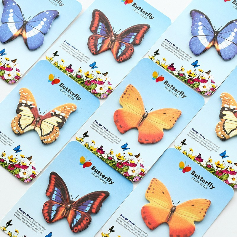 2PCS New Lovely Creative Butterfly Shape Novelty Self Adhesive Memo Pad Sticky Note Memo Post Note Gift Stationery