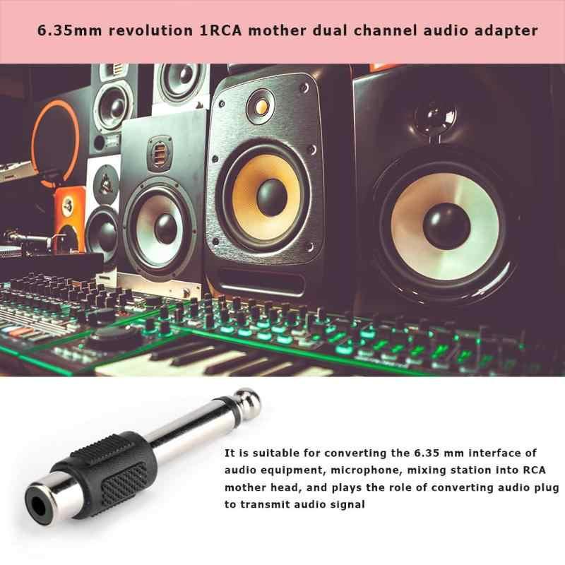 ALLOYSEED 2 ピース 6.35 ミリメートルオス RCA メスオーディオコネクタ 6.35 ミリメートルジャック AV オーディオビデオ変換アダプタ DVD アンプスピーカー