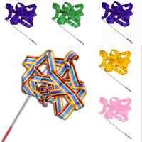 New 4M Colorful Dance Ribbon Gym Rhythmic Art Gymnastic Streamer Twirling Rod Stick