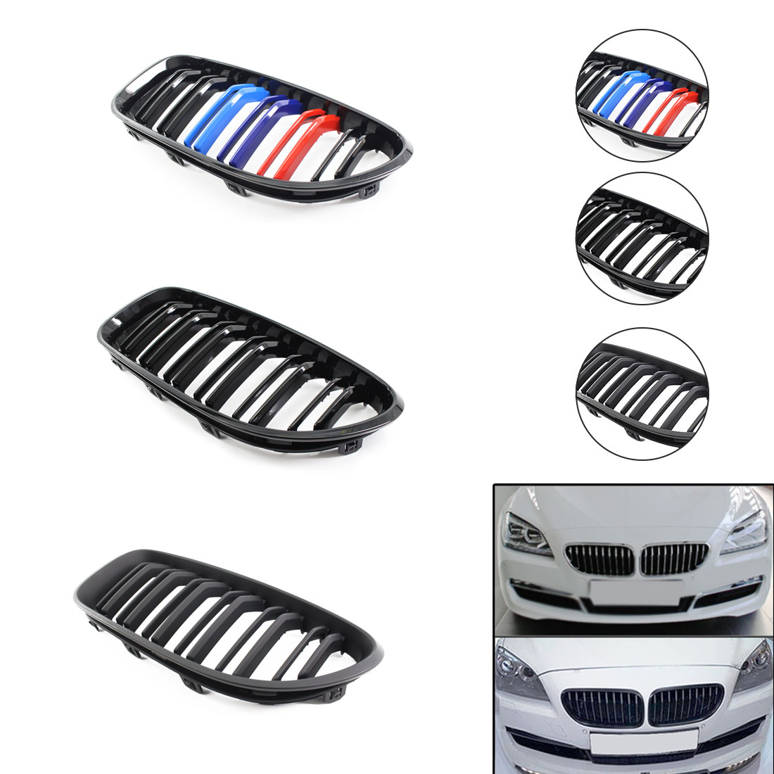 New Arrival Gloss Black Kidney Grill Racing Grille Dual Line For BMW 6 Series F06 F12 F13 12   16 Years|Racing Grills|   - title=