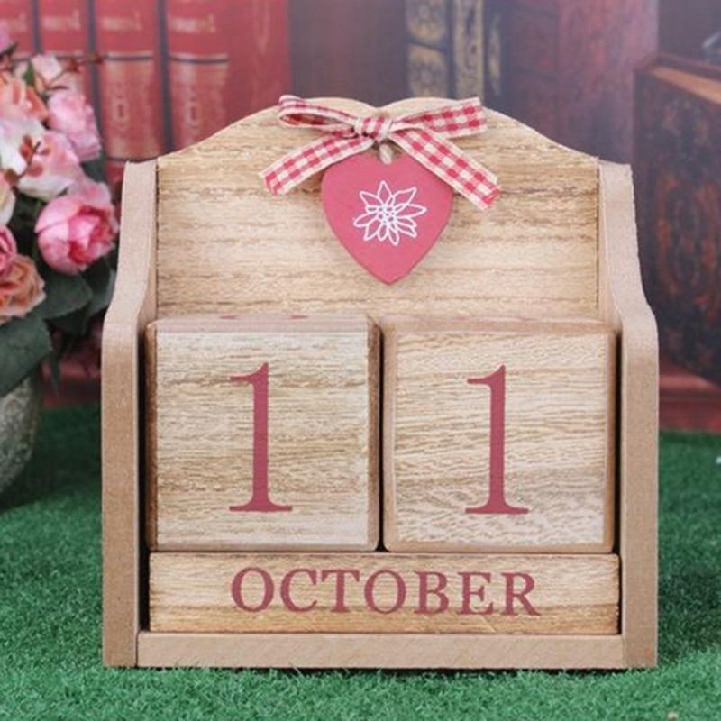 New-1pc Dekorative Einrichtungs Kalender Holz Desktop Kalender Europäischen Rosa Lernen Periodische Planer Tisch Schreibwaren Professionelles Design Kalender, Planer Und Karten