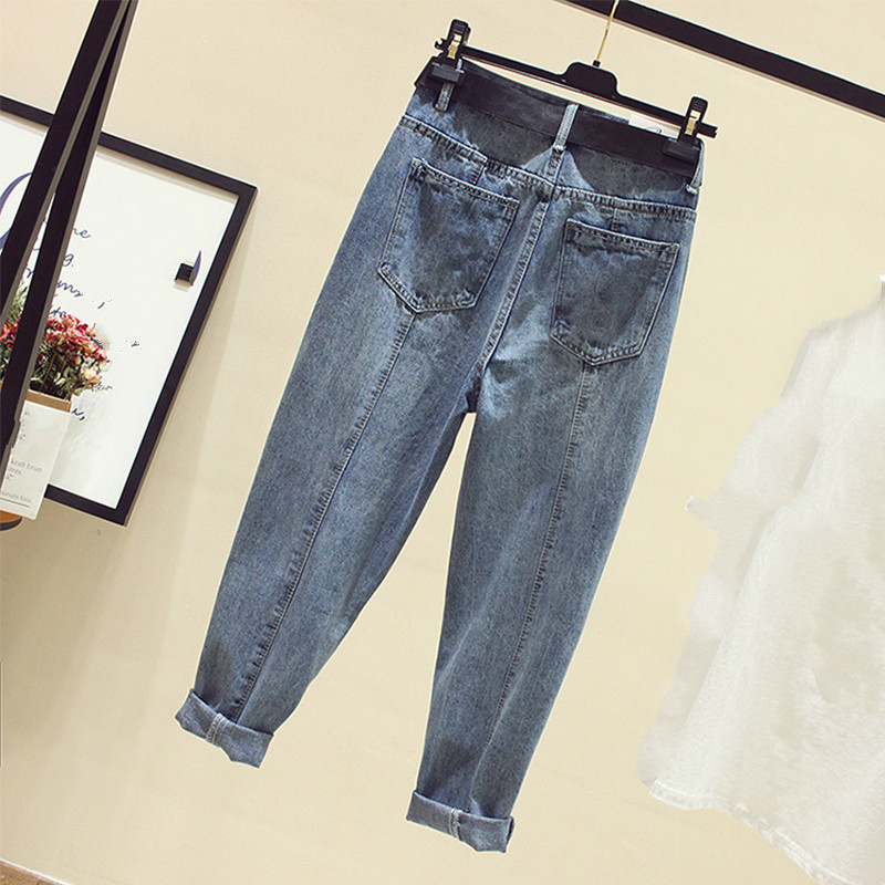 2019 New Spring Summer Women Jeans Vaqueros High Waist Loose Denim Pants Plus Size Straight Trousers