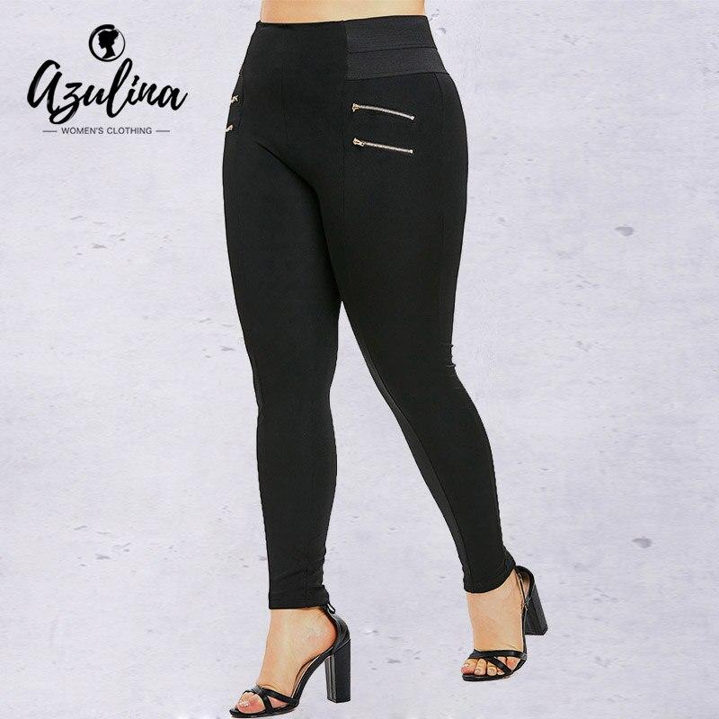 Rosegal Plus Size Zips Embellished Elastic Waist   Leggings   Women Pants Casual Black Long Pencil Pant Trousers Female   Leggings   5XL