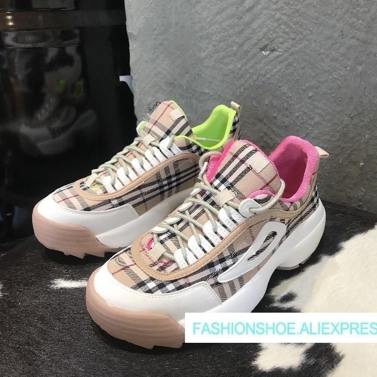 ef10eedbca501a Lacets Printemps Chaude Confortables De Plaid Plate Sneakers Femme Rond À  Bout D'automne Pic Causal forme Peu Pour Profonde Appartements Chaussures  ...