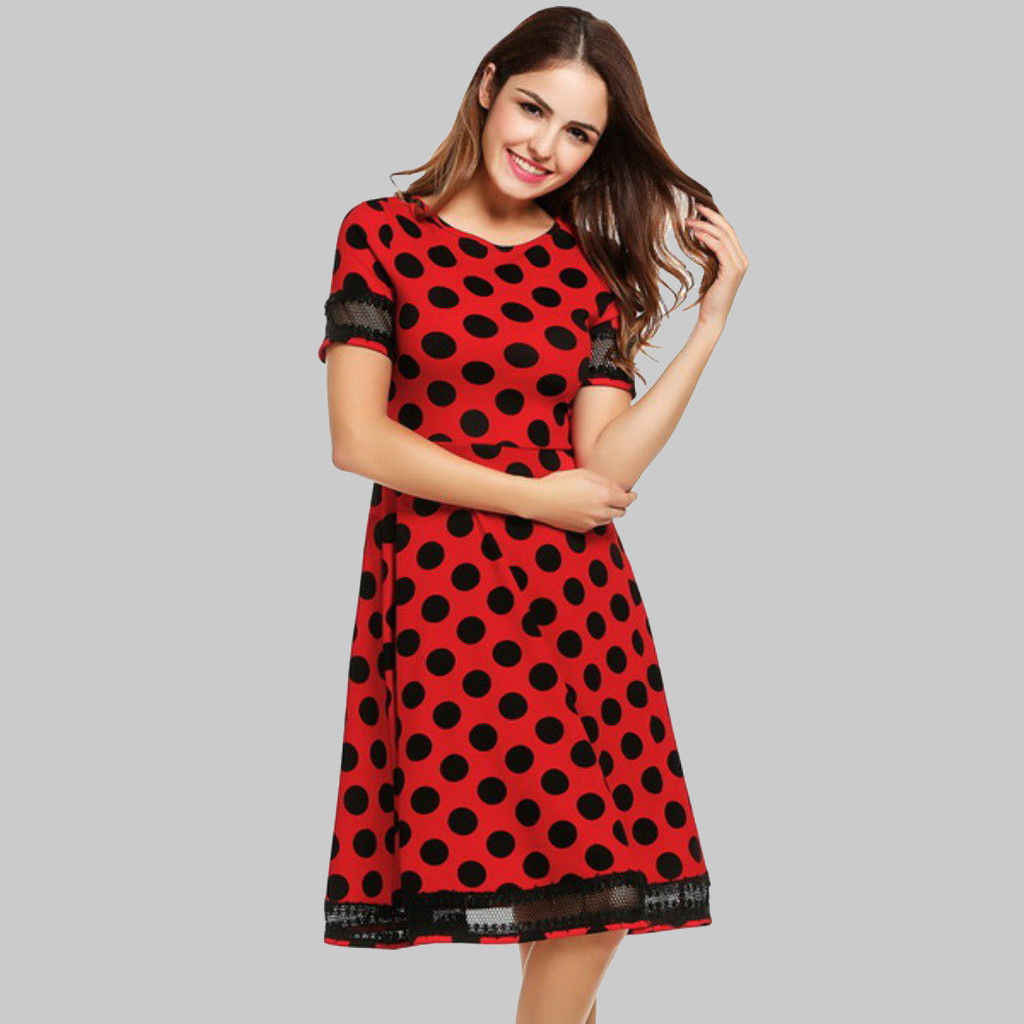 70669634c9a Women Large Dot Lace Patchwork Retro Dresses Rockabilly Polka Vintage Prom Party  Swing Pinup Short Sleeve
