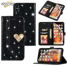 KISSCASE Leather Fashion Heart Luxury Glitter Diamond-studded Phone Case For iPhone 5 5s SE 6 6s 7 8 Plus X XR XS MAX Cover