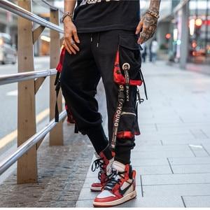 Image 1 - 2019 Dropshipping Big Pocket Ribbon Workwear Pants Brand Design Harajuku Harem Pants High Quality Cargo Tactical Pants