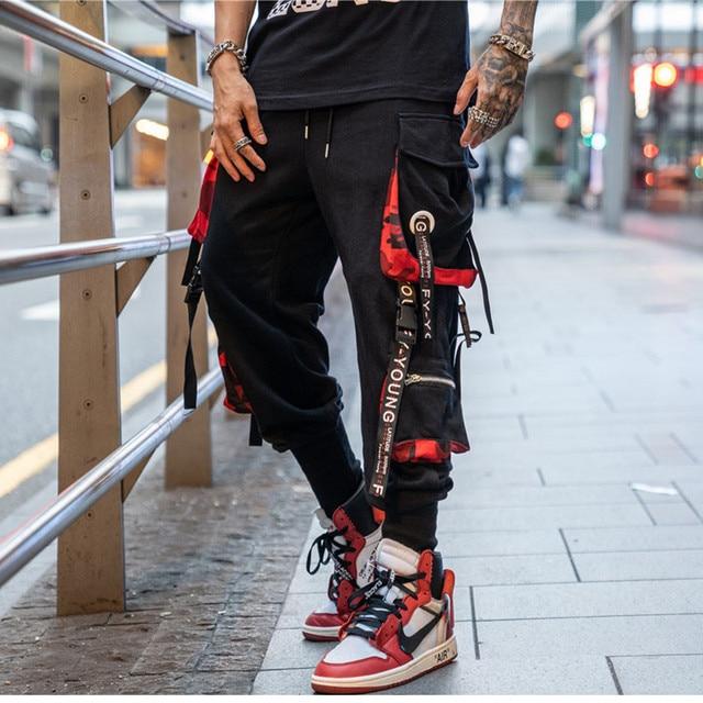 2019 Dropshipping Big Pocket Ribbon Workwear Pants Brand Design Harajuku Harem Pants High Quality Cargo Tactical Pants