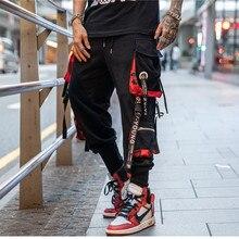 2019 Dropshipping גדול כיס סרט Workwear מכנסיים מותג עיצוב Harajuku הרמון מכנסיים מטען באיכות גבוהה טקטי מכנסיים