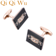 Qi Wu Luxury Square Crystal Cufflinks for Mens Wedding Favor Romantic Shirt Cuff Buttons Men Arm links Christmas Gifts