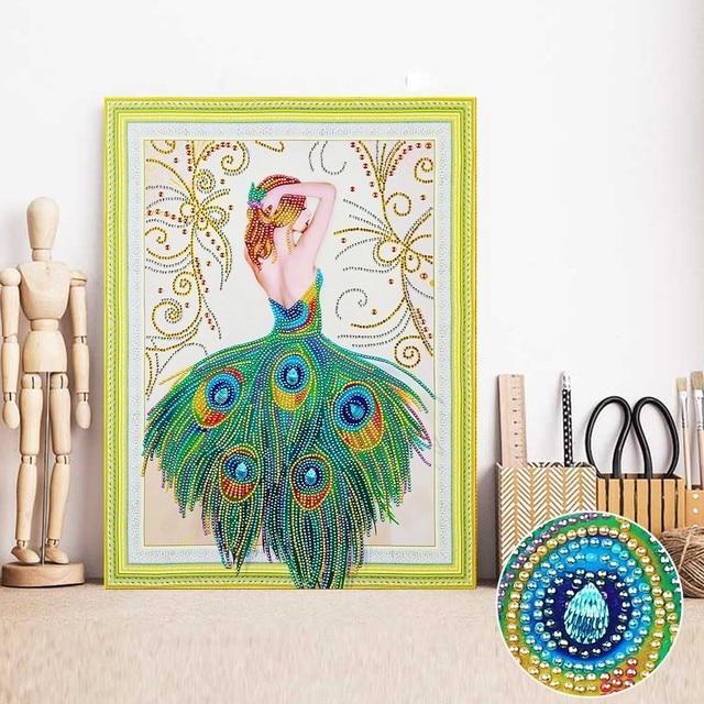 HUACAN Special Shaped Diamond Painting Fairy 5D DIY Diamond Embroidery  Picture Of Rhinestones Diamond Mosaic Peacock 40x50cm c25fc3160729