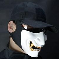 Half Face Airsoft Mask Halloween Costume Cosplay Monster Kabuki Samurai Hannya Oni Half Prajna Masks