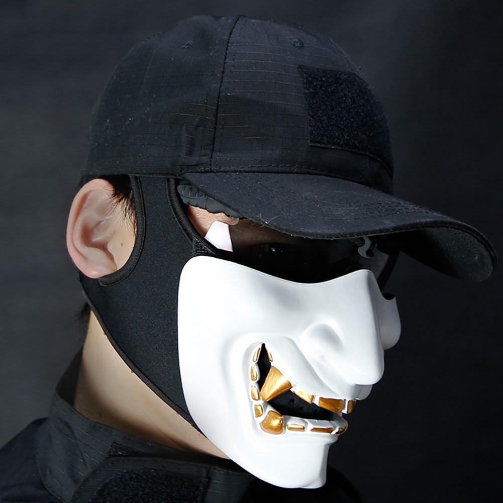 Máscara De Media Cara Airsoft Disfraz De Halloween Cosplay Monstruo Kabuki Samurái Hannya Oni Medio Prajna Máscaras