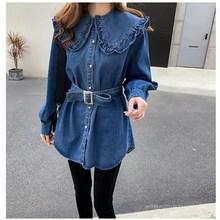 цены Long Sleeve Tunic Jeans Blouse 2019 Spring Vintage Women Blouses Tops Ladies Ruffle Collar Denim Shirt