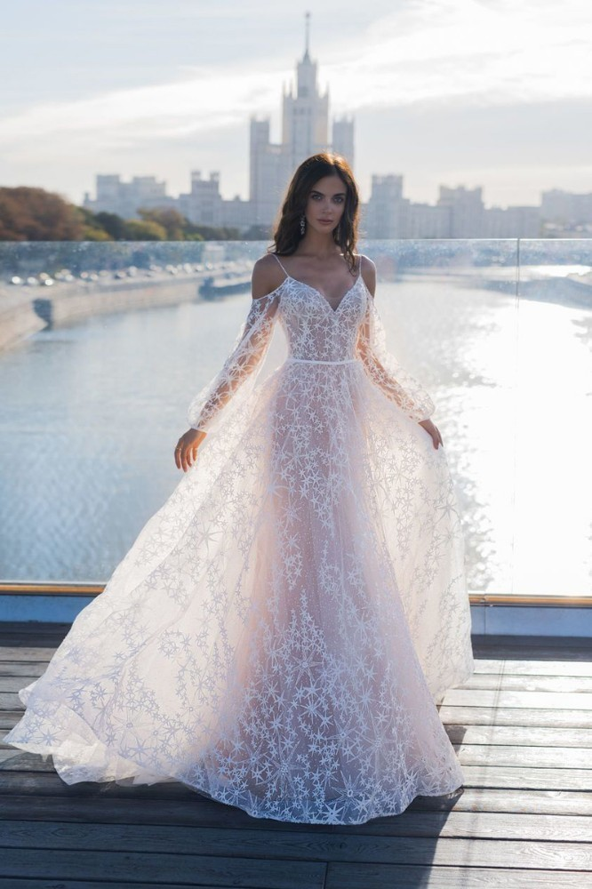 Vivian 39 s Bridal Elegant Star Appliques Chic Mermaid Wedding Dress Illusion Lantern Sleeve Detachable Train Boho Bridal Dress in Wedding Dresses from Weddings amp Events