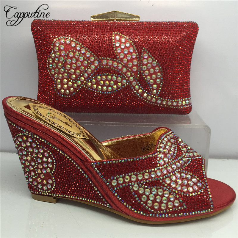New Arrival Fashion High Shoes And Bag Set For Party Italy Style  Pumps 9.5CM Shoes And Bag Set For Wedding Dress BL185C