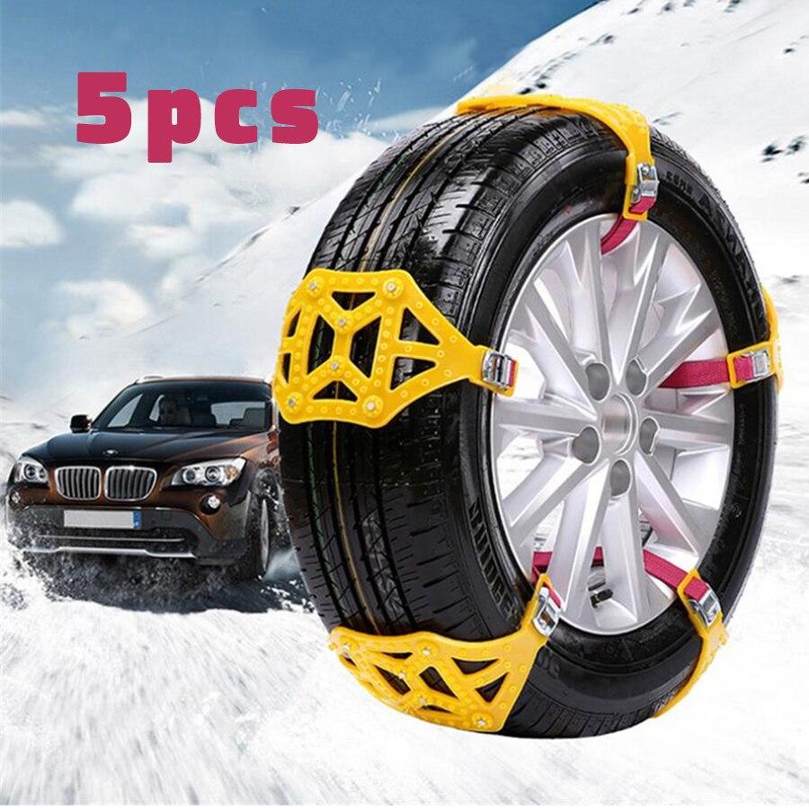 Universel 5 pièces voiture pneu anti-dérapant chaîne neige chaînes ceinture boeuf Tendon manganèse acier ongles épaissi