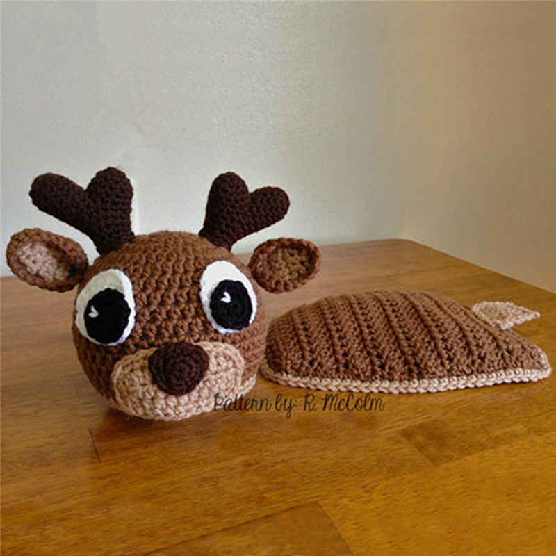 Newborn Photography PropsAccessories Crochet Baby Costume Infant Deer Shape Hat Outfits Studio Baby Photo Shoot Props Clothes