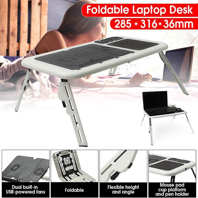 Bureau d'ordinateur portable pliant multifonctionnel support d'ordinateur portable de Table avec 2 ventilateurs de refroidissement USB tapis de souris Table d'ordinateur portable Laptodesk pour lit