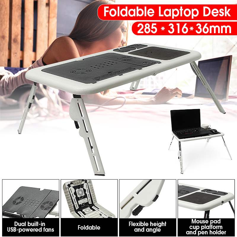 Multi function Folding Laptop Desk Table Laptop Stand Holder With 2 USB Cooling Fans Mouse Pad Laptop Table Laptodesk For Bed