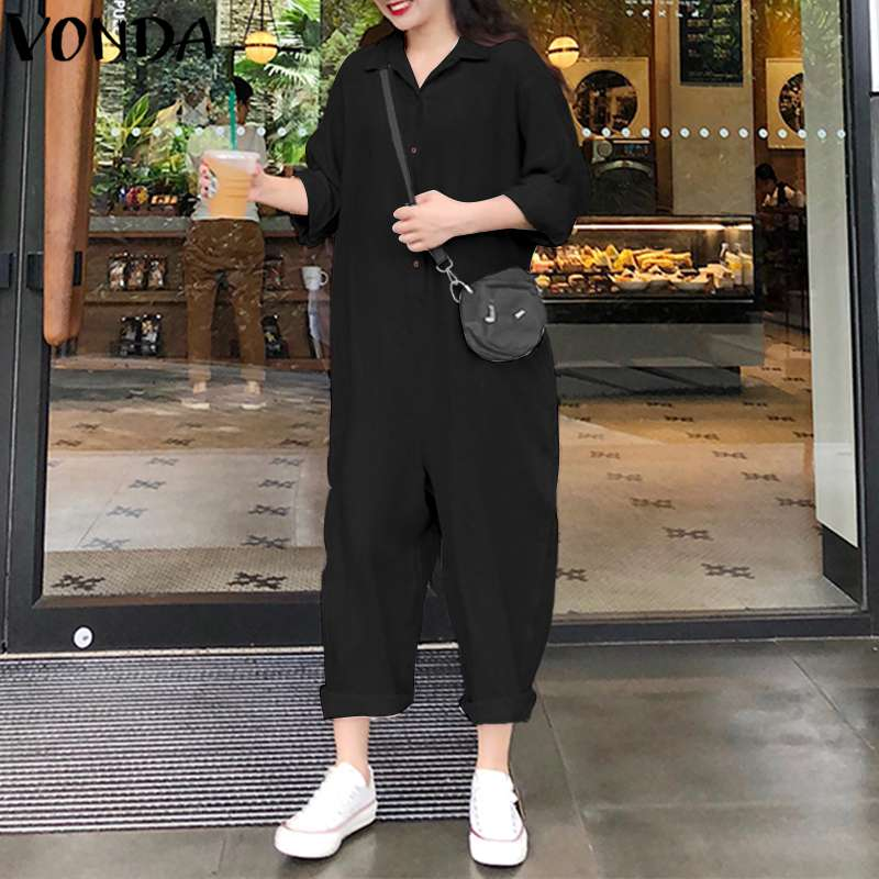 VONDA Plus Size Wide Leg Pants 2019 Jumpsuits Women Romper Casual Loose Lapel Neck Button Long Sleeve Solid Baggy Overalls