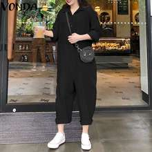 VONDA Plus Size Wide Leg Pants 2019 Jumpsuits Women Romper Casual Loose Lapel Neck Button Long Sleeve Solid Baggy Overalls