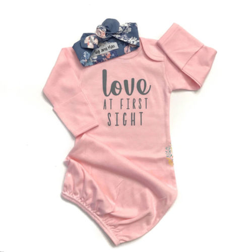 Infant Baby Girls Gowns Love At First Sight Print