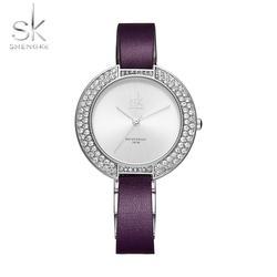 Shengke новый для женщин часы Diamond Dial синий кожаный ремешок дамы Saat наручные часы модные простые Роскошные Кварцевые SK часы 2019