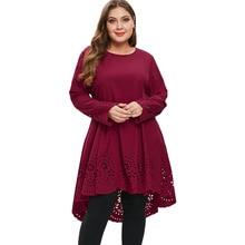 Wipalo Plus Size 5XL Laser Cut High Low Casual Loose Dress Women Big Size  Long Sleeve ecdd3ae449b4