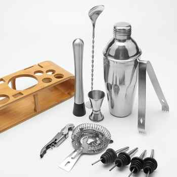 12pcs/set Stainless Steel Liquor Cocktail Shaker Bar Wine Mixer Set Bartender Cocktail Hand Shaker Tool Kit Bar Tool with Holder