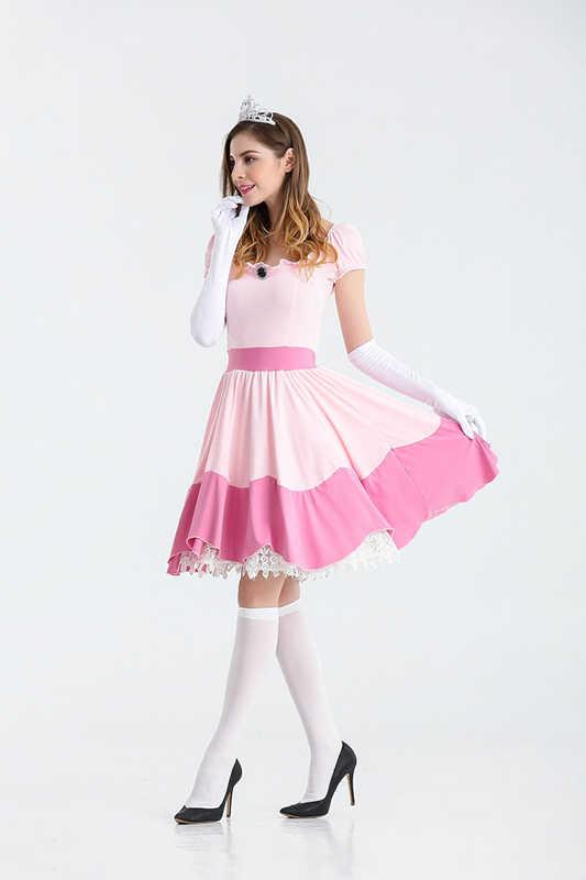Rosa Vestidos de Dama Bela Adormecida Aurora Princesa Cosplay Halloween Roupas de Fadas Traje do Carnaval
