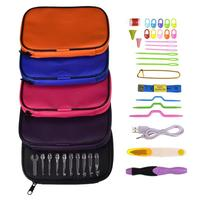 VKTECH Rechargeable 38pcs USB LED Light Rechargeable Crochet Hooks Sewing Needles Set Knitted Tool Kit Black/Purple/Red/ Blue