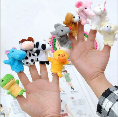 Family Finger Puppets Cloth Doll Baby Educational Hand Cartoon Animal Toys Sets