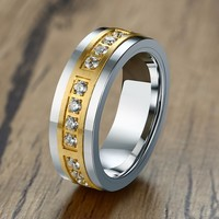 Luxurious Tungsten Carbide Rings For Men Two Tone Cubic Zirconia Inlay Awesome Promise Marriage Wedding Band Comfort Fit