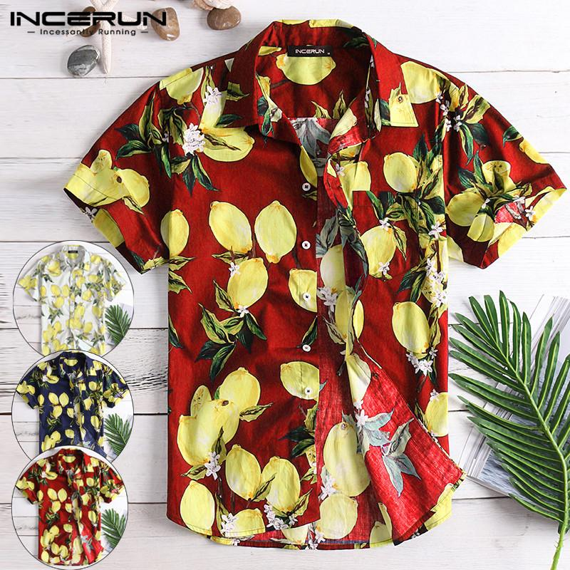 INCERUN Summer Cotton Casual Shirt Men Lemon Print Lapel Neck Short Sleeve Tops Streetwear Beach Hawaiian Shirt Men Camisa 2019
