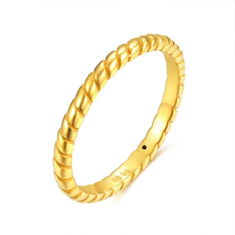 Bague en or jaune 24 K solide, demi-corde, bague femme taille 6, meilleur cadeau
