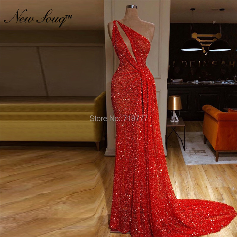One Shoulder Sexy   Evening     Dresses   Mermaid Sequined Long Prom   Dresses   2019 Couture Arabic Wedding Party Gowns Red Abendkleider