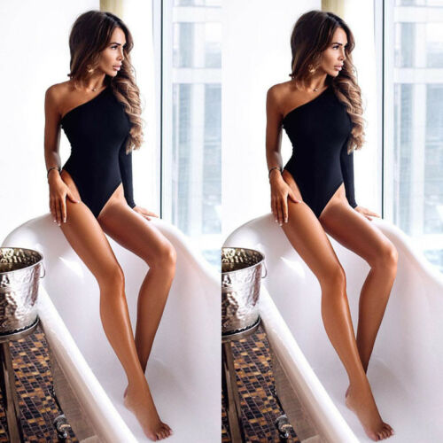 2019 Newest Women One Shoulder One Sleeve Sexy Top Playsuit Party Backless Bodycon Bodysuit Jumpsuit