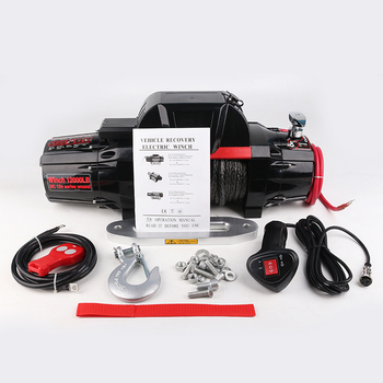 1 Set Steel Cable Electric Car Self-rescue Winch can Afford 12000LBS Wireless Steel Cable Kit Remote for 4WD Trailer