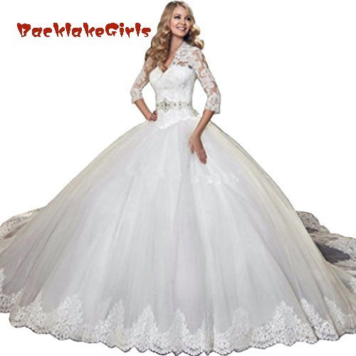 BacklakeGirls Wedding Vintage 3/4 Sleeves Lace Ball Gown