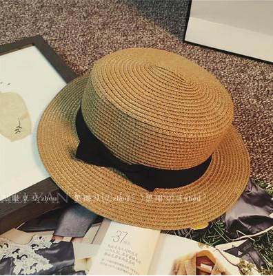 Fashion Hawaiian straw hat sun hat Cute Women sun hats bow hand made women straw cap beach big brim hat casual girls summer cap(China)