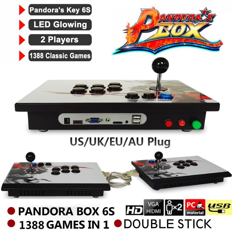 цены Pandora Box 6s 1388 In 1 Retro Video Games Double Stick Split Arcade Console TV PC PS3 Monitor HDMI VGA USB Pause Video Arcade