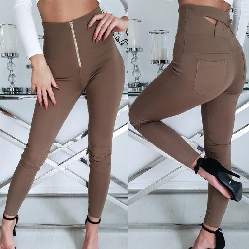 Celmia 2019 Women Sexy Long Trousers High Waist Skinny Push Up Pencil Pants Zipper Casual Elastic Waist Pantalon Femme Plus Size